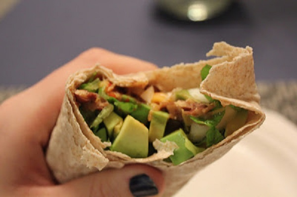 black bean avocado burrito